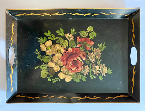 Vintage Black Handled Hand Painted  Roses Toleware Tray