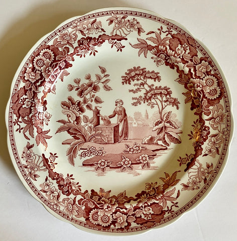Red / Pink Transferware Plate Spode Archive Girl At Well - Garden Flowers