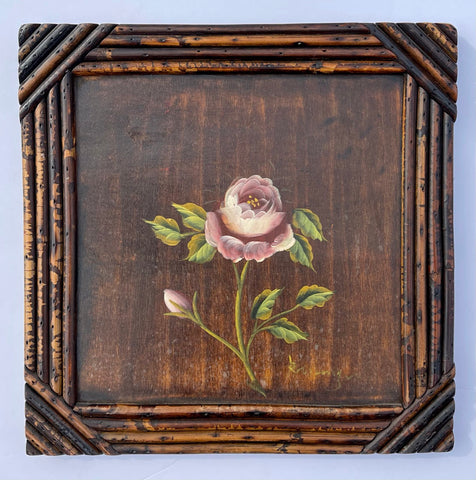 Vintage Artist Signed Hand Painted Pink Garden Rose on Board w/  Bamboo Frame