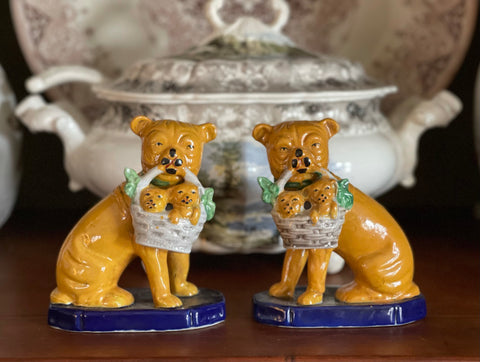 Pair Vintage English Bulldog or Pug Staffordshire Dogs w/ Basket of Puppies on Cobalt Bases