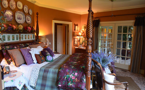 Ralph Lauren English Country Flowers Brittany KING Comforter Bedskirt & 2 Shams Eggplant