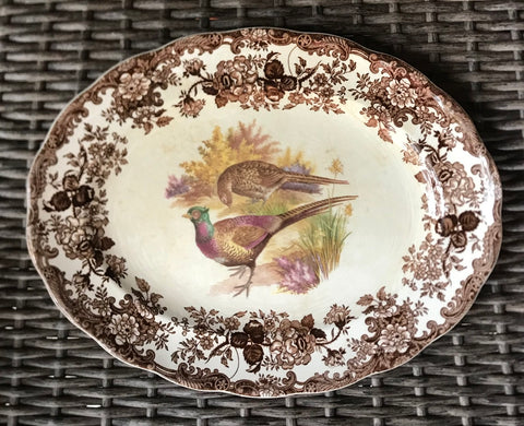 Vintage Brown Transferware Platter Pheasants & Roses Game Bird Series