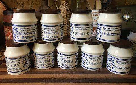 Blue & White MIXED HERBS Fortnum & Mason English Ironstone Advertising Canister
