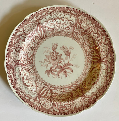 Red / Pink Transferware Plate Spode Archive British FLORAL Botanical Flowers