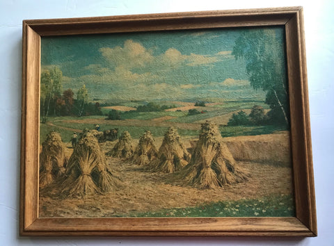 Framed Pastoral Landscape Hay Field Haystacks Hay Stack Harvest Painting