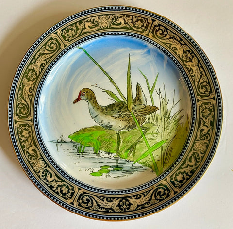 Antique 1903 Royal Doulton Clobbered Transferware Plate Game Bird