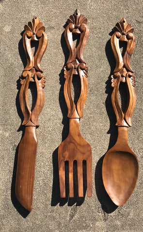 "Huge 27"" Vintage French Country Farmhouse Carved Wood Knife Fork & Spoon Plaques"
