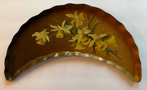 Vintage Brown Tole Crescent Tray Hand Painted Daffodils / Jonquils