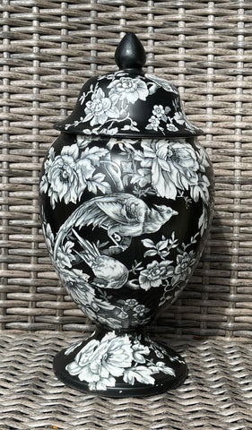 RARE Royal Winton English Chinoiserie Black Beauvais Bird & Peony Urn / Ginger Jar