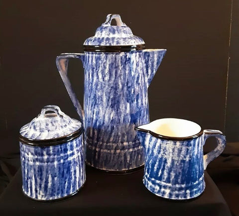 Blue and White Spongeware Coffee Pot Sugar & Creamer