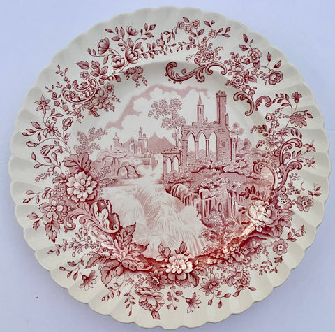 Peaceful Summer Clarice Cliff Red English Transferware Serving Plate Cascading Waterfall