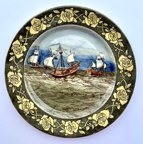 Hand Painted 1900 Doulton Galleon / Clipper Ships Transferware Plate with Roses Border