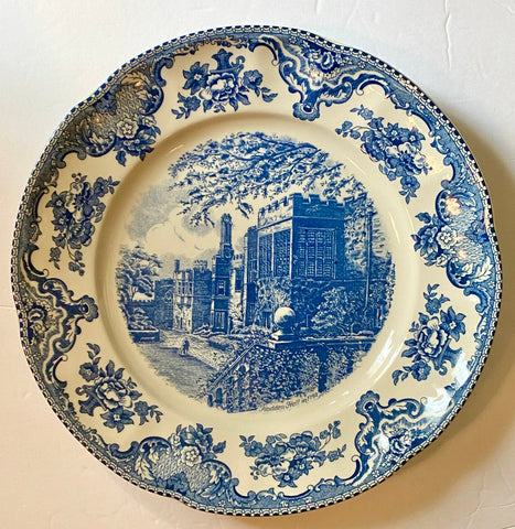 Lg Blue & White Transferware Charger Round Platter Haddon Hall British Castles Roses Johnson Bros