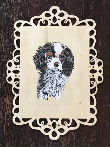 Original Hand Painted Black White English Spaniel Puppy Dog Artist Signed Painting