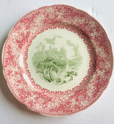 Antique Rare Pink Green Two Color Transferware Plate Vine Flowers Linlithgow Loch Scotland