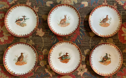 "Antique Set of 6 Bavarian Woodland 9"" Plates Hand Painted Rabbit Quail Birds"