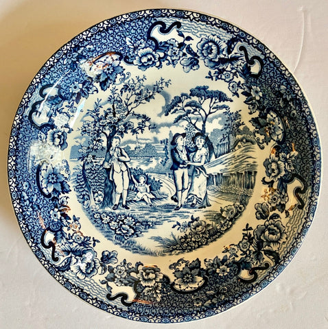 Vintage Blue Transferware Pasta / Salad Bowl Victorian Family Playtime Swagged Garland Roses