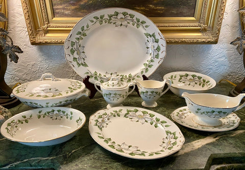 9 Serving Pieces Vintage Homer Laughlin Magnolia Flowers Dinnerware