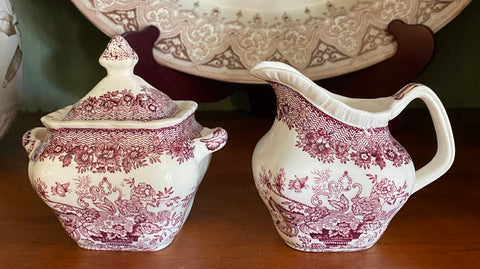 Purple English Transferware Sugar & Creamer Masons Ascot Flower Basket & Butterfly