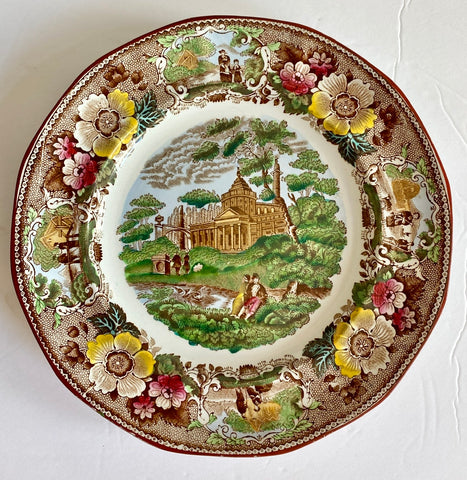 Antique Adams Brown Polychrome Transferware Plate Italian River Scenery Picnic