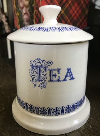 Vintage Blue & White English Transferware Advertising TEA Canister Caddy Jar