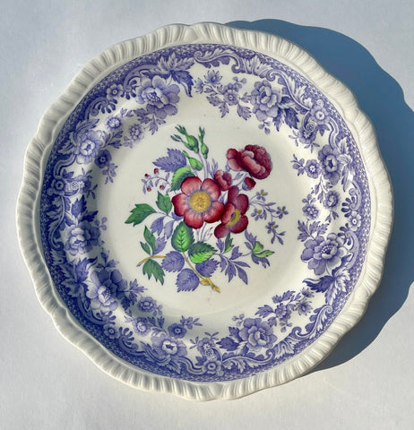 Spode Mayflower Periwinkle Lavender Transferware Salad Plate Painted Pink Roses