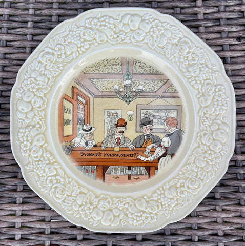 "Antique English Creamware ""WHAT'S YOURN, GENTS?"" Pub Plate / Bar Decor # 2 of 6"