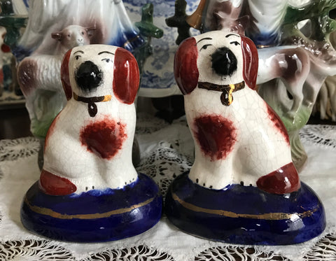 small Pair White w/ Gold English Staffordshire Spaniel Wally Dog figurines on Cobalt Bases