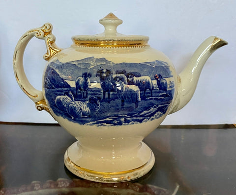 1904 Transferware Cobalt Blue and White Teapot Highland Cattle Scottish Sheep