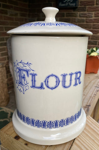 Large Vintage English Blue Whiteware Transferware Advertising FLOUR Canister Jar