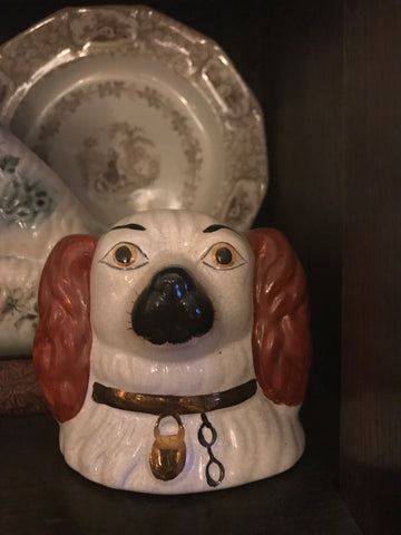 Vintage Staffordshire Brown Spaniel Dog Head Money Bank - English Country Decor