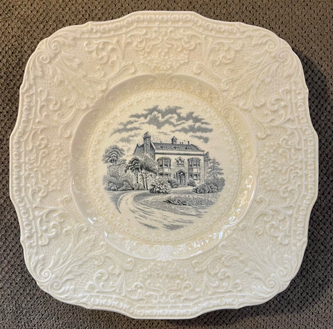 Square Black Transferware  Charles Dickens Home Plate Scrolled Relief Border