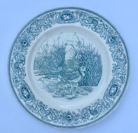 Dark Teal Blue Transferware Plate Masons Snipe Woodland Game Birds