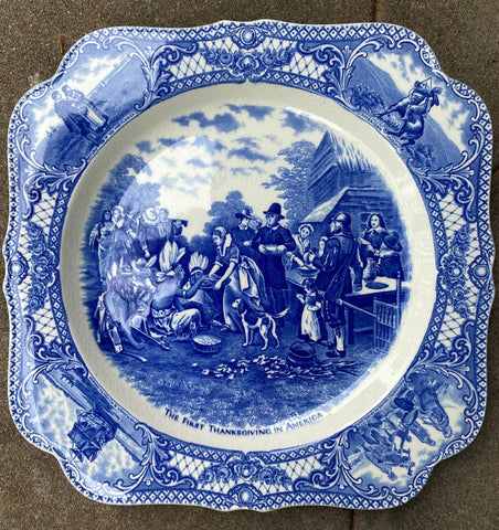 RARE Blue Transferware Square Platter The First Thanksgiving Colonial Times American History / Historical Staffordshire