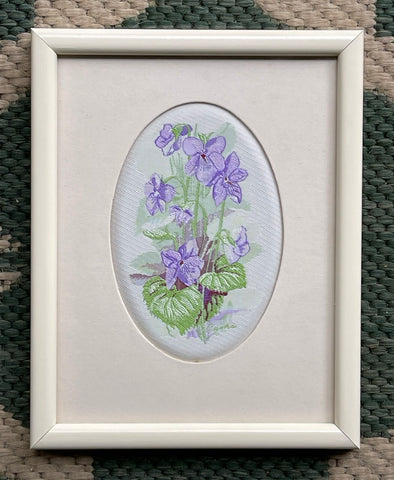 Vintage English Woven Silk Violets Flowers Matted in Cream Frame