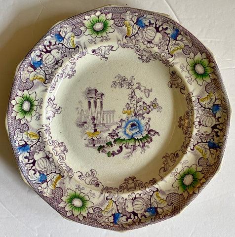 19C Polychrome 12 sided Frances Morley Purple Staffordshire Transferware Plate Cleopatra