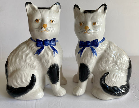 Pair White English Transferware Staffordshire Mantle Cats w/ Blue Bows