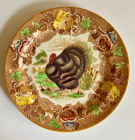 Enoch Wood Vintage polychrome Brown Transferware Turkey Plate