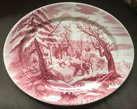 Red Royal Staffordshire Thanksgiving Landing of the Pilgrims English Transferware Platter