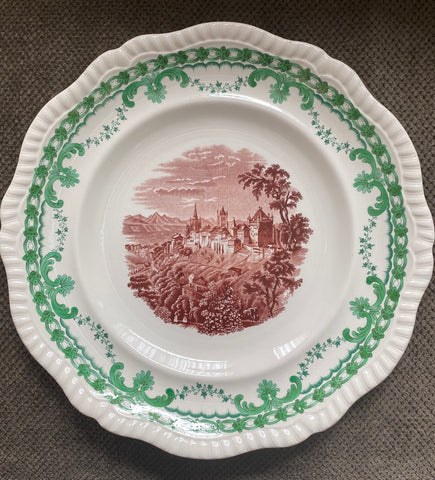 Copeland Spode Italian Coast Bi Color Brown & Green Transferware Plate Shell & Ivy Garland Border