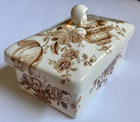 Brown Transferware Lidded Jewelry Box Butter Box or Tea Caddy Charlotte