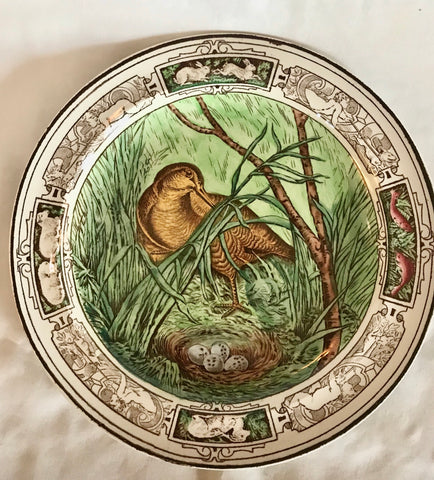 Brown Transferware Hand Enameled Plate Antique Wedgwood Bird & Nest Wildlife