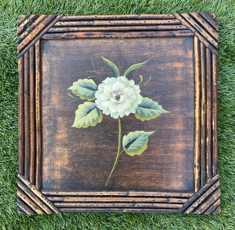 Vintage Hand Painted Garden Cream White Rose on Wood Board w/  Bamboo Frame