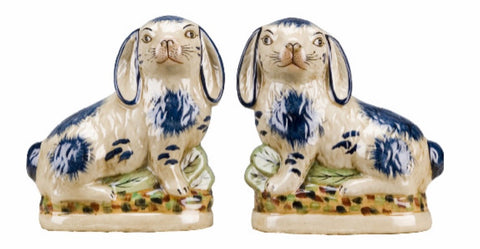 Pair Blue & Off White Staffordshire Rabbit Figurines  - English Country Decor