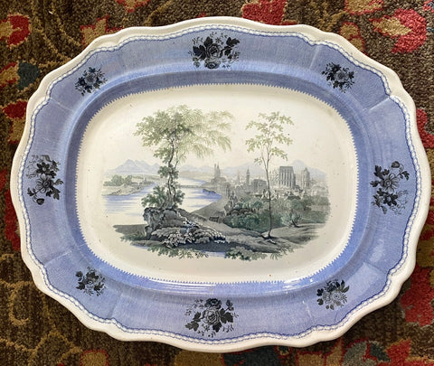Early 19th Century RARE Davenport Blue Staffordshire THREE Color Transferware Platter