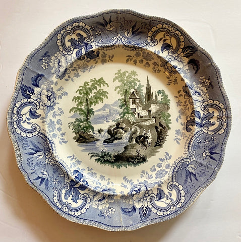 Antique 1830-40 Staffordshire RARE Muleteer Brown Blue 3 Color Transferware Plate