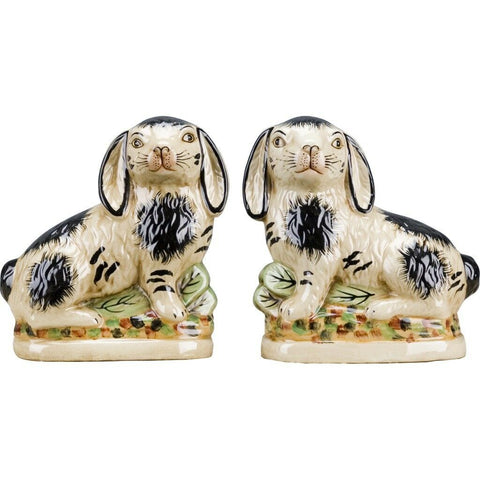 Pair Black & Cream Staffordshire Rabbit Figurines  - English Country Decor