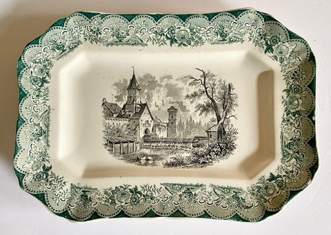 Antique Bi Color Transferware Platter Cottage Pastoral Floral Green Black