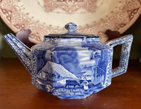 Vintage Blue English Transferware Teapot Girl Feeding Farm Animals Pigs Chickens Cows Chintz Border