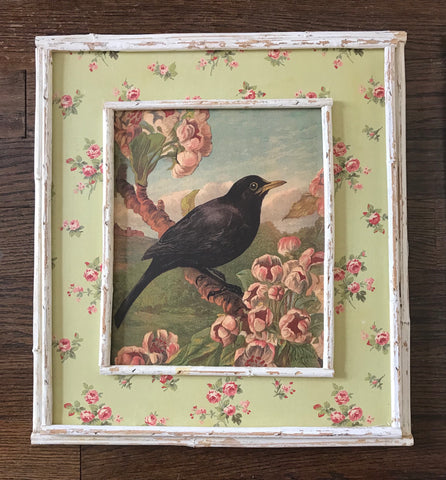 Vintage Rustic French Blackbird / Bird on Cherry Blossoms Print on Board w/ Pink Rose & Distressed Bamboo Frame